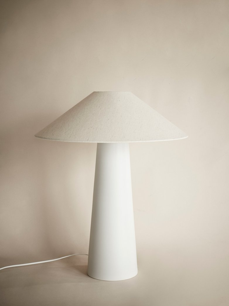 Cone Lamp Base with Triangle Lampshade