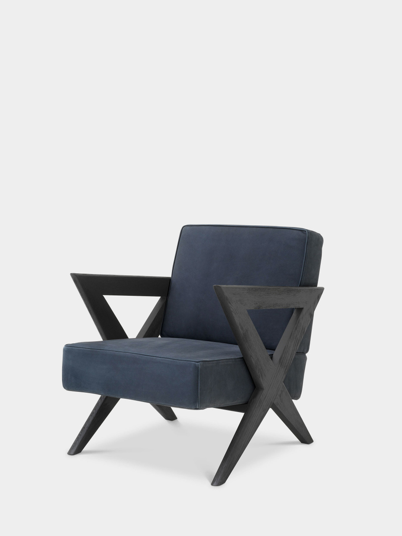 Accadia Armchair - Black Oak/Blue Nubuck