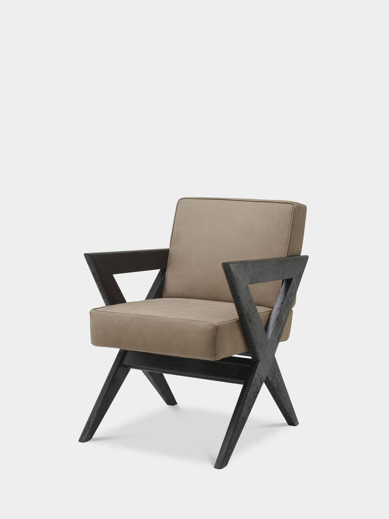 Accadia Dining Chair - Black Oak/Beige Nubuck