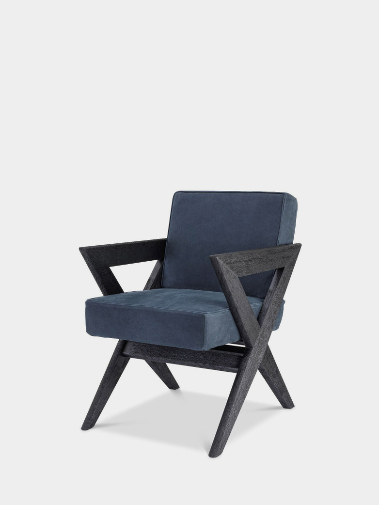 Accadia Dining Chair - Black Oak/Blue Nubuck