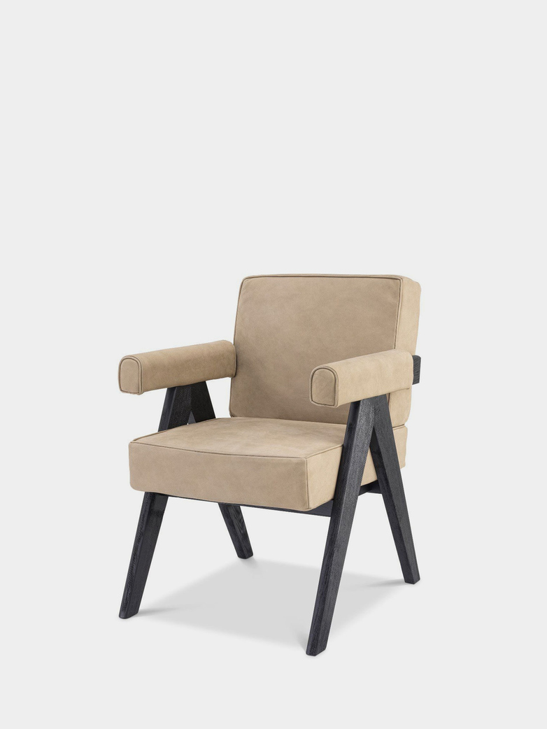 Puglia Dining Chair - Black Oak/Beige nubuck