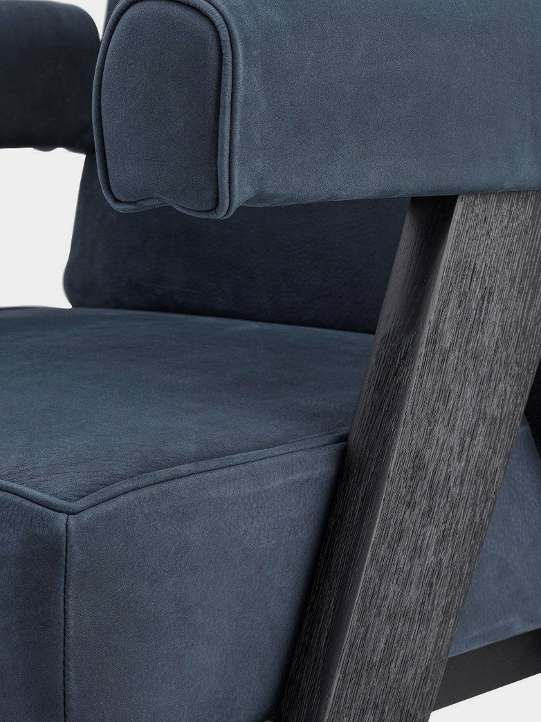 Puglia Dining Chair - Black Oak/Blue Nubuck