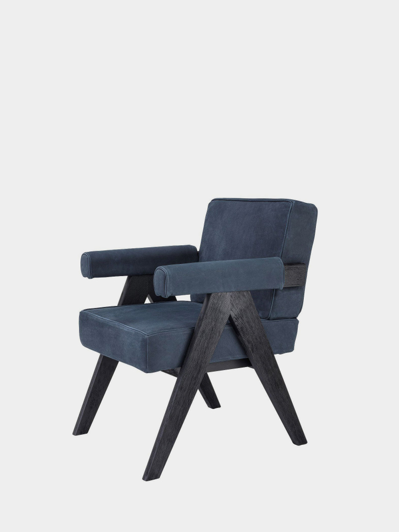Puglia Dining Chair - Black Oak/Blue Nubuck