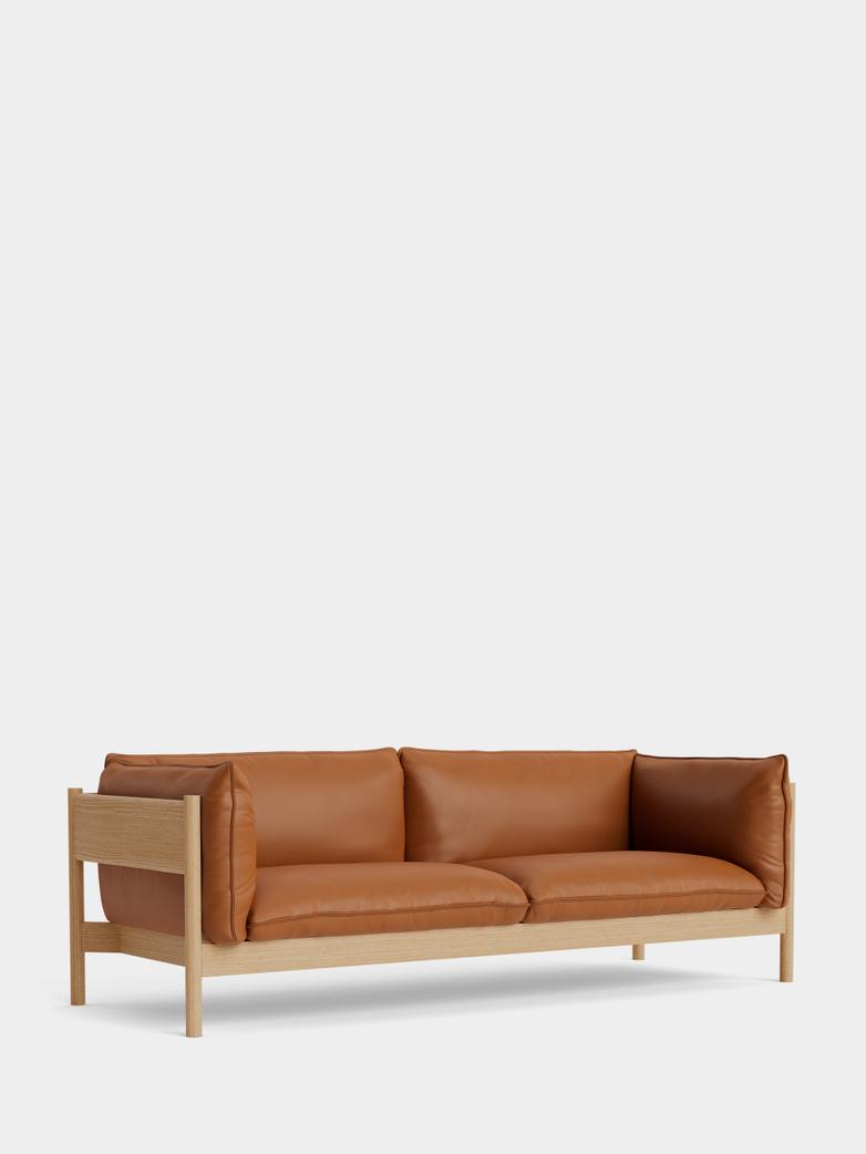 Arbour 3 Seater - Oiled Oak - Cognac Leather