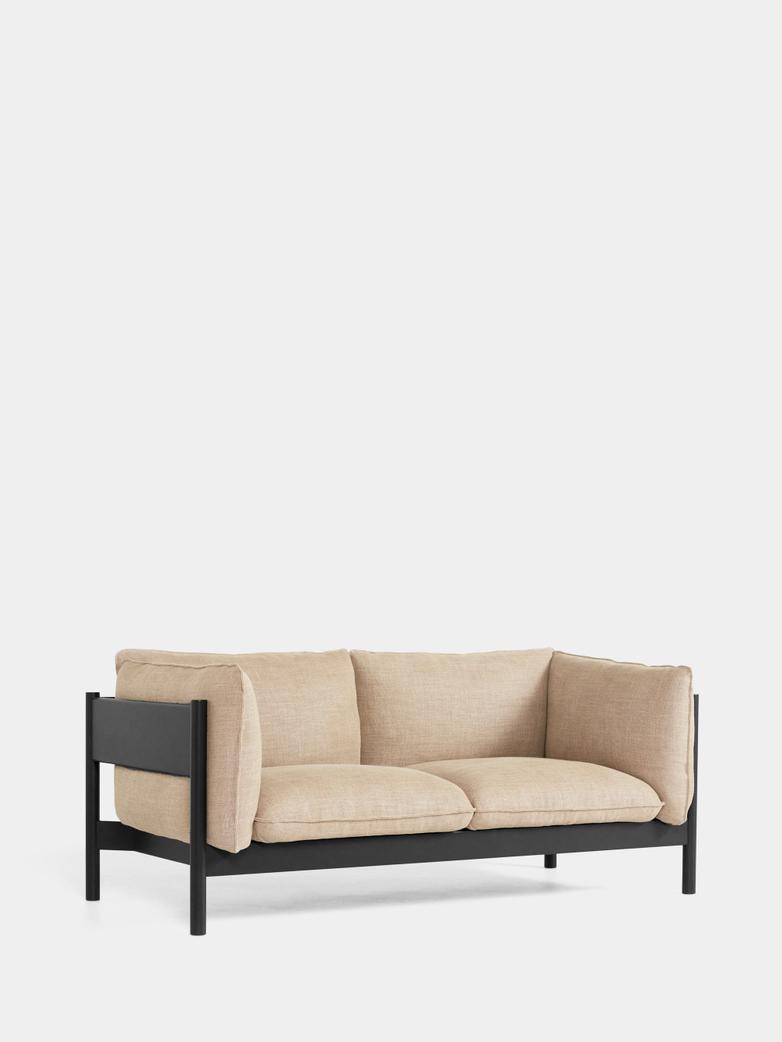 Arbour 2 Seater - Black Beech - Linen Grid Dark Beige