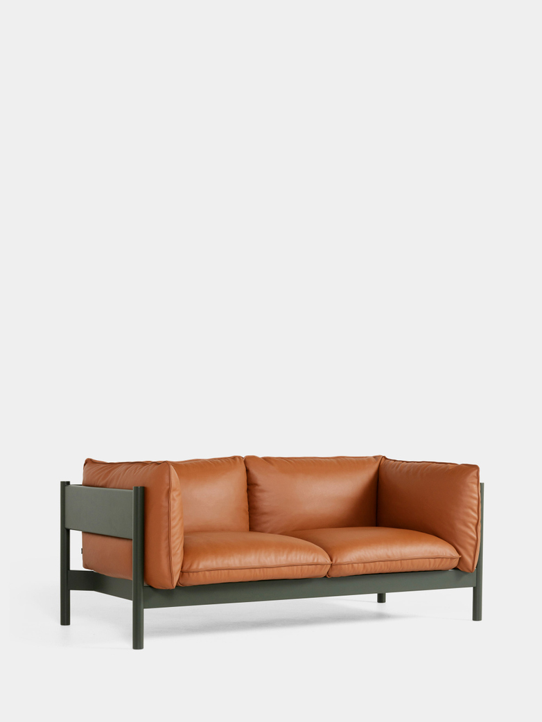 Arbour 2 Seater - Bottle Green Beech - Cognac Leather