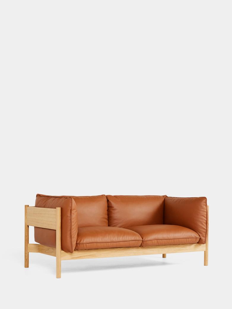 Arbour 2 Seater - Oiled Oak - Cognac Leather