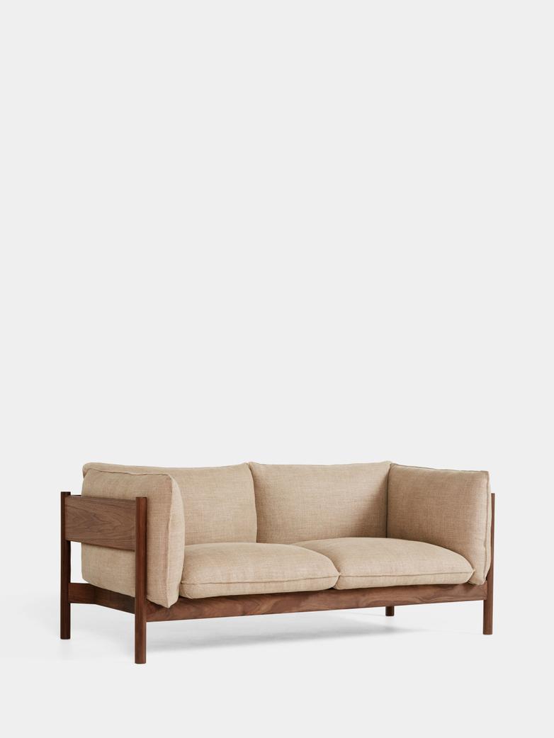 Arbour 2 Seater - Walnut - Linen Grid Dark Beige