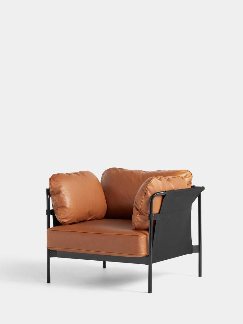 CAN Armchair - Black Frame/Black Canvas- Cognac Leather