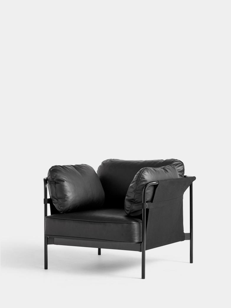 CAN Armchair - Black Frame/Black Canvas - Black Leather