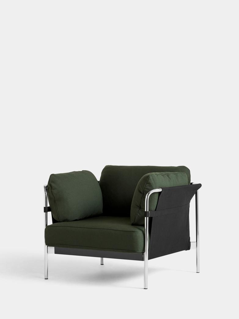 CAN Armchair - Chrome Frame/Black Canvas - Steelcut 975