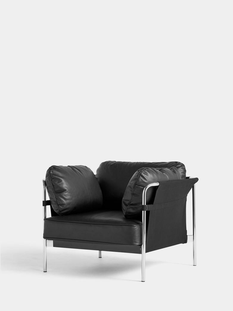 CAN Armchair - Chrome Frame/Black Canvas - Black Leather