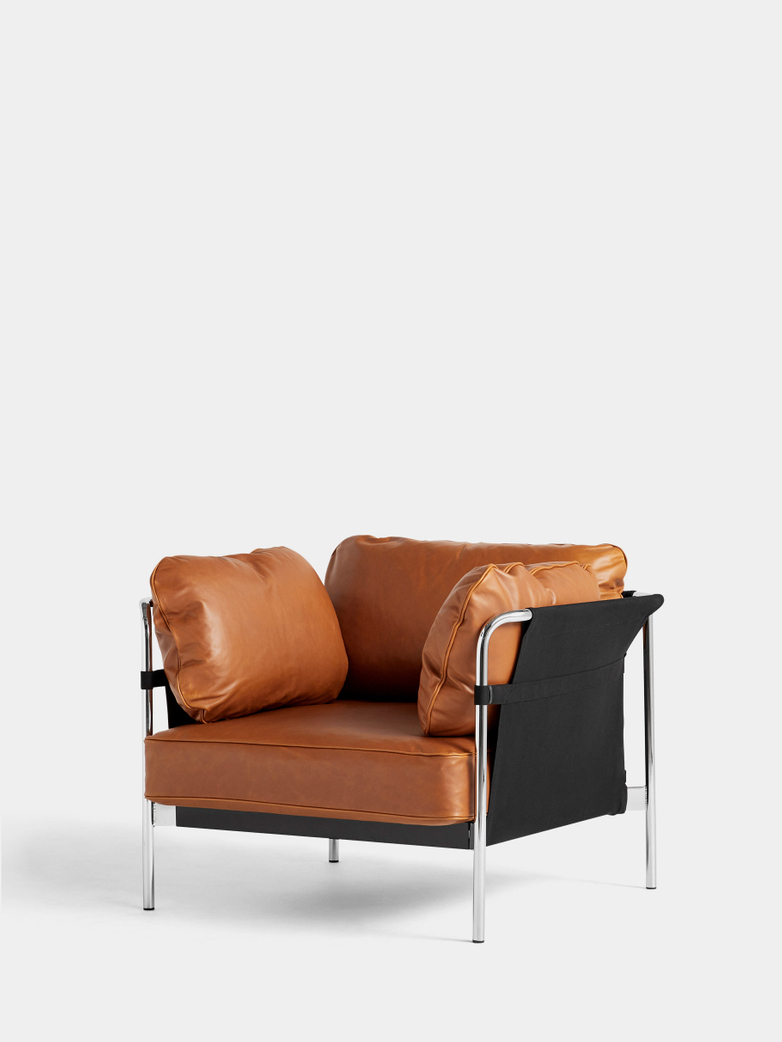 CAN Armchair - Chrome Frame/Black Canvas - Cognac Leather