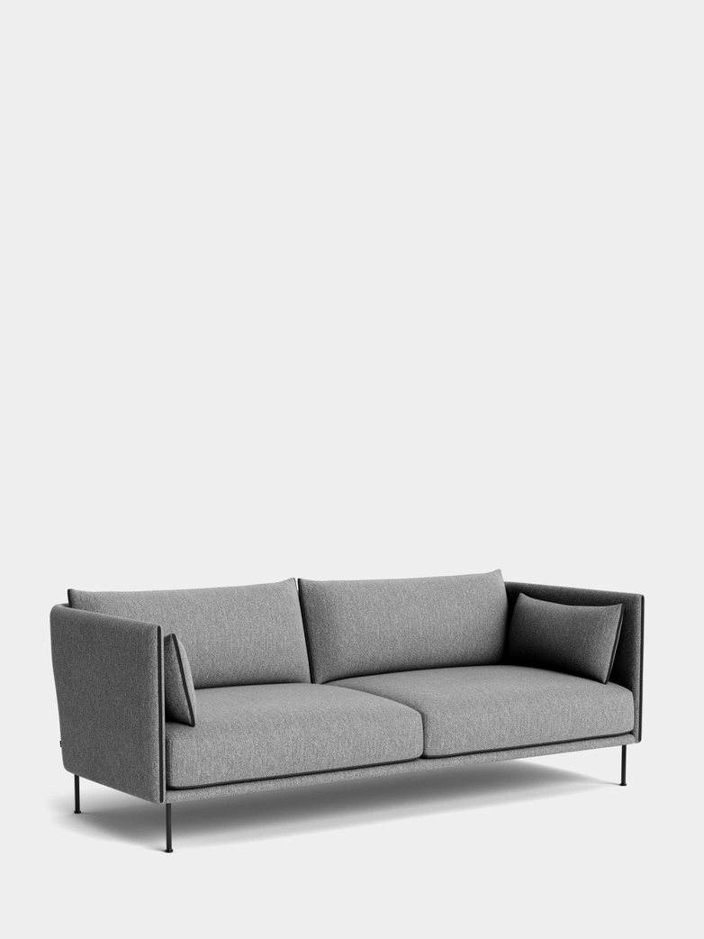 Silhouette Sofa 3- Seater -  Hallingdal 166/Black Leather Piping