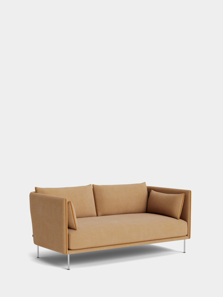 Silhouette Sofa 2- Seater -  Linara 142/Cognac Leather Piping