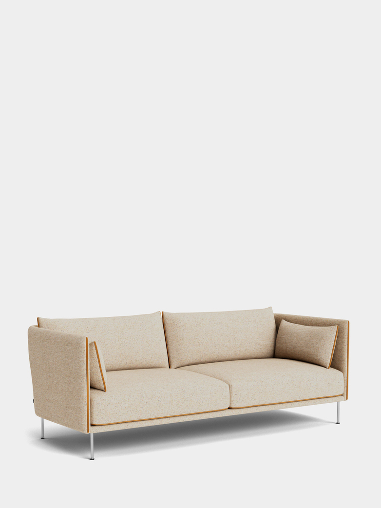 Silhouette Sofa 3-Seater -  Bolgheri LGG6/Cognac Leather Piping
