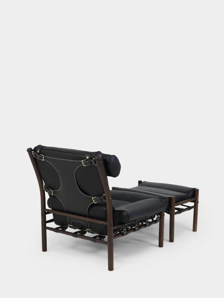 Inca Armchair and Footstool - Black