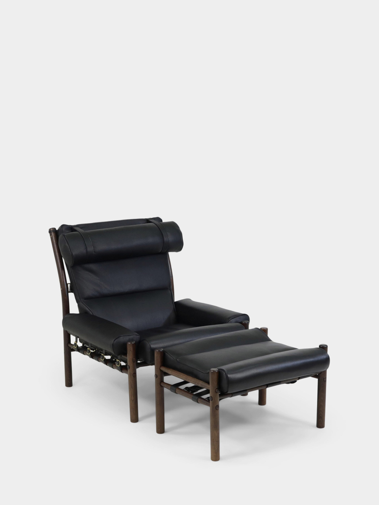 Inca Armchair and Footstool - Black