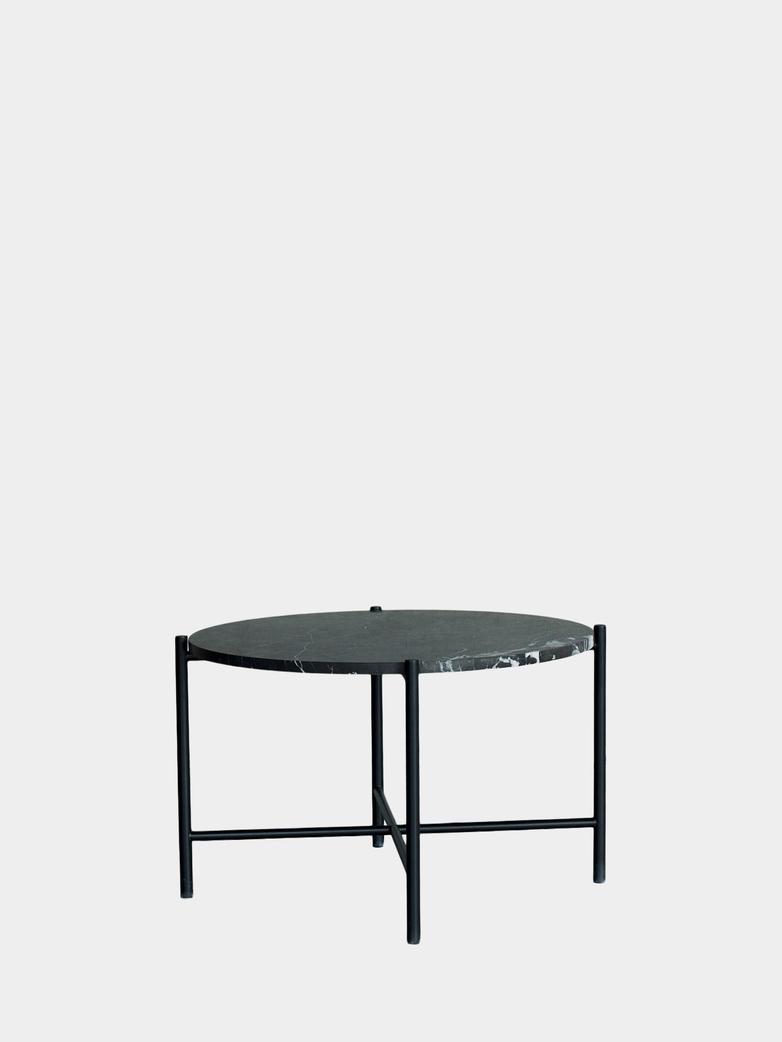 Coffee Table 60 Round - Black Marble - Black Frame