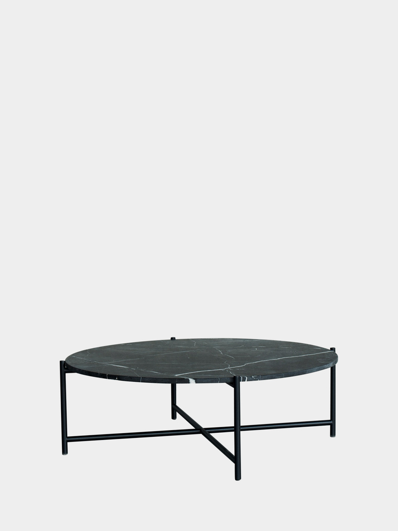 Coffee Table 90 Round - Black Marble - Black Frame
