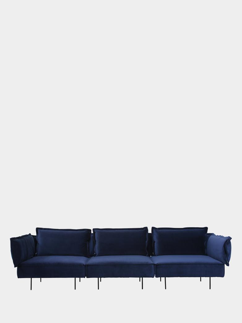 Modular Sofa 3-Seater - Velvet Royal Blue