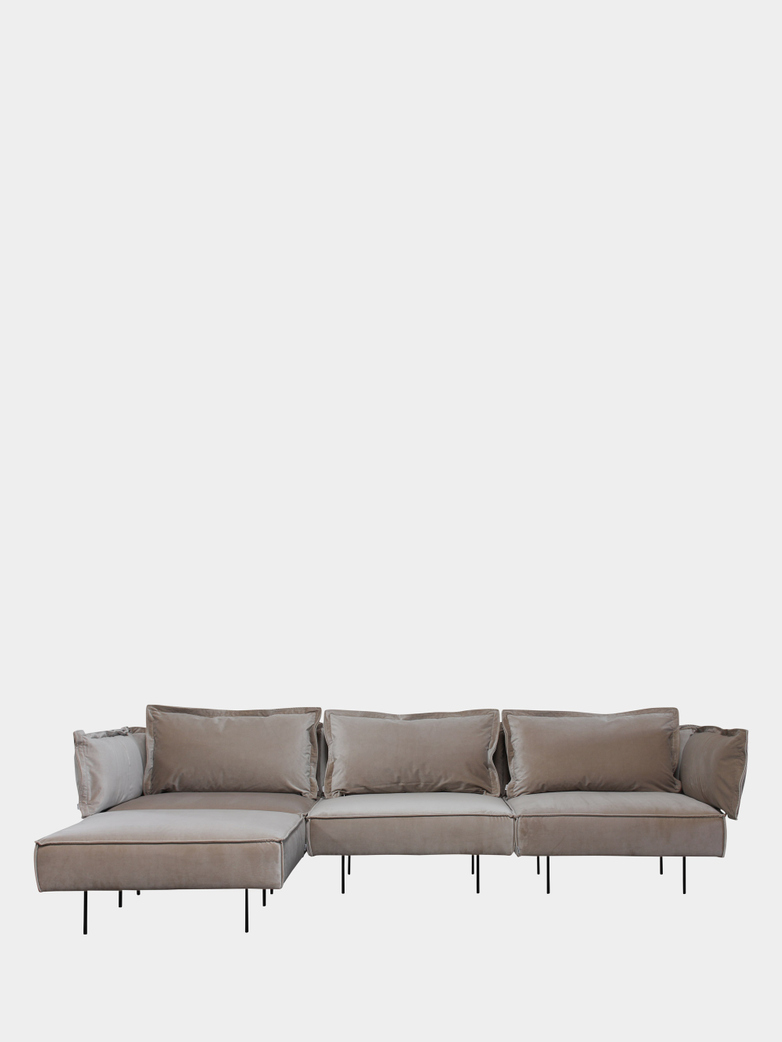 Moular Sofa 3-Seater with Chaise Lounge - Velvet Sand