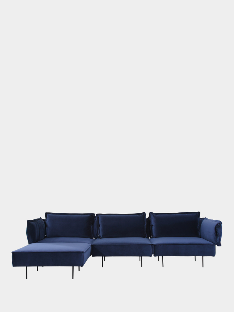 Moular Sofa 3-Seater with Chaise Lounge - Velvet Royal Blue