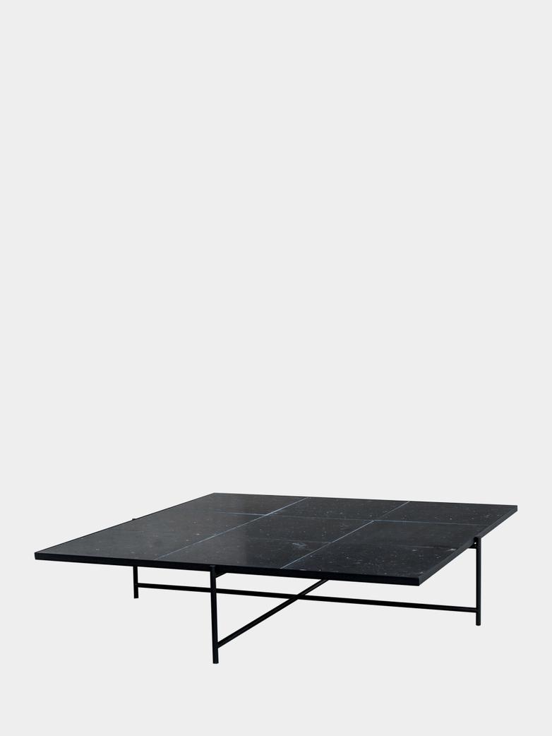 Coffee Table 140 - Black Marble - Black Frame