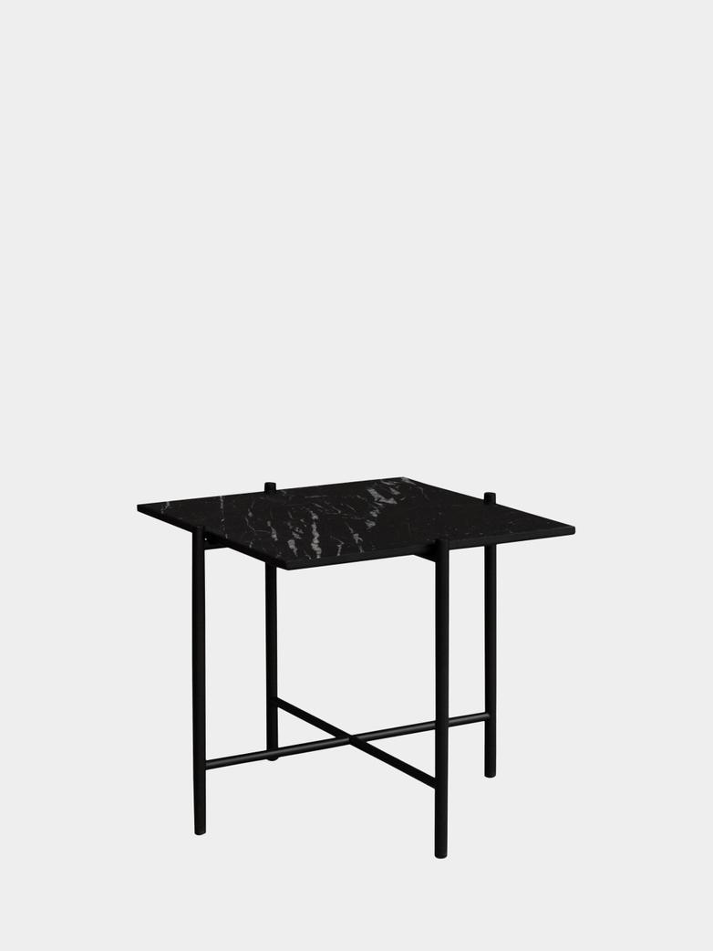 Side Table - Black Marble - Black Frame