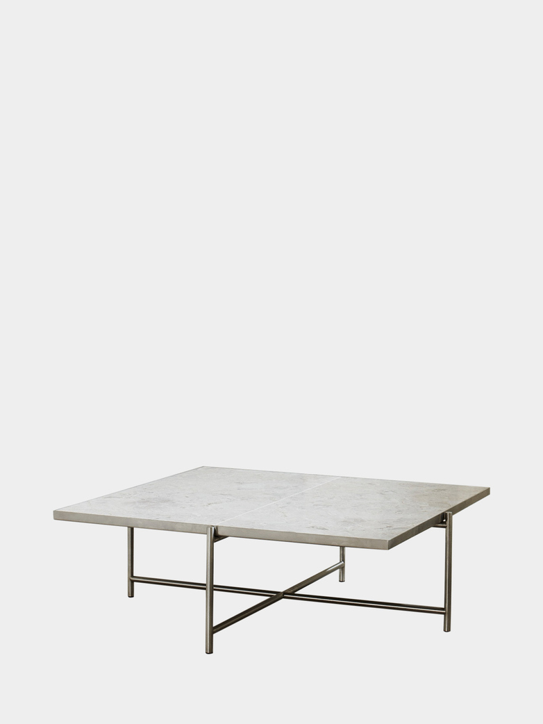 Coffee Table 90 - White Marble - Stainless Steel