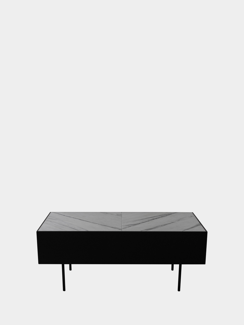 Accent Table - White Marble - Black Frame