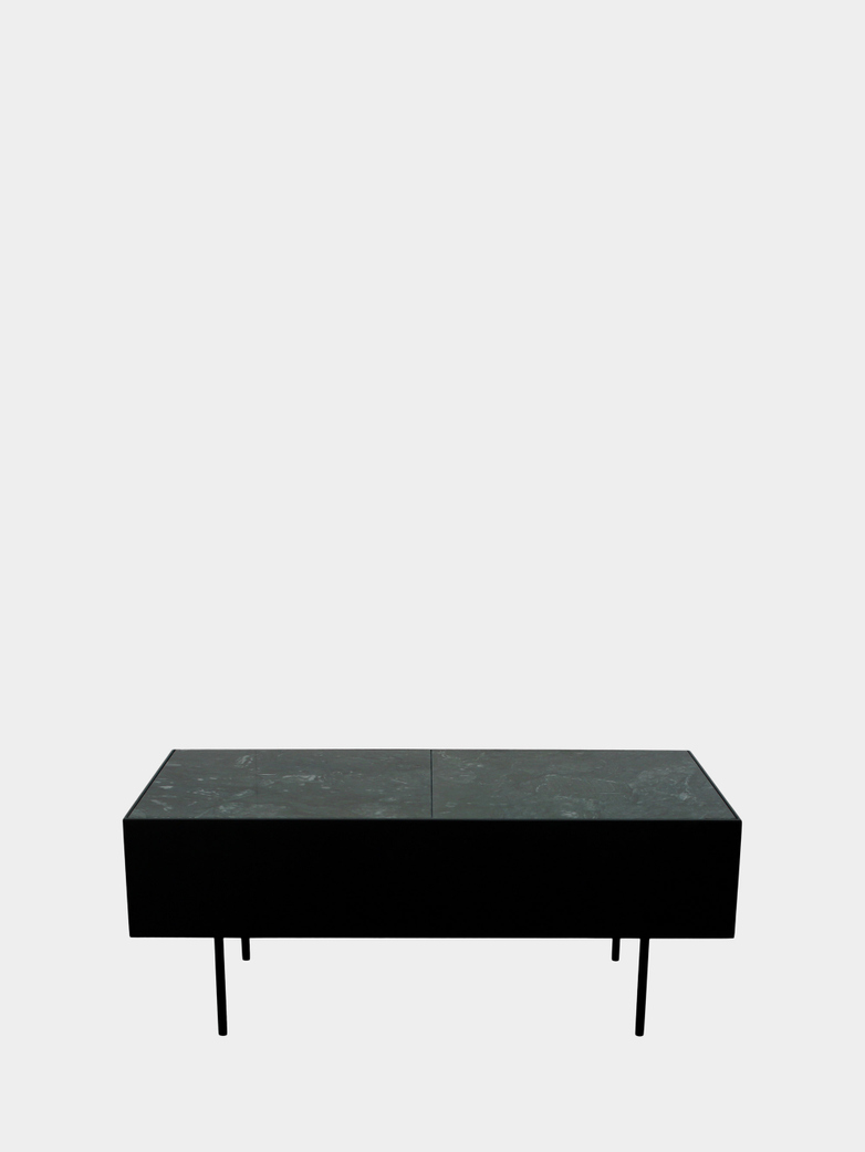 Accent Table - Green Marble - Black Frame