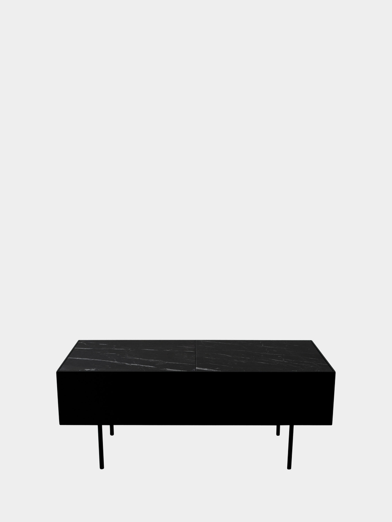 Accent Table - Black Marble - Black Frame