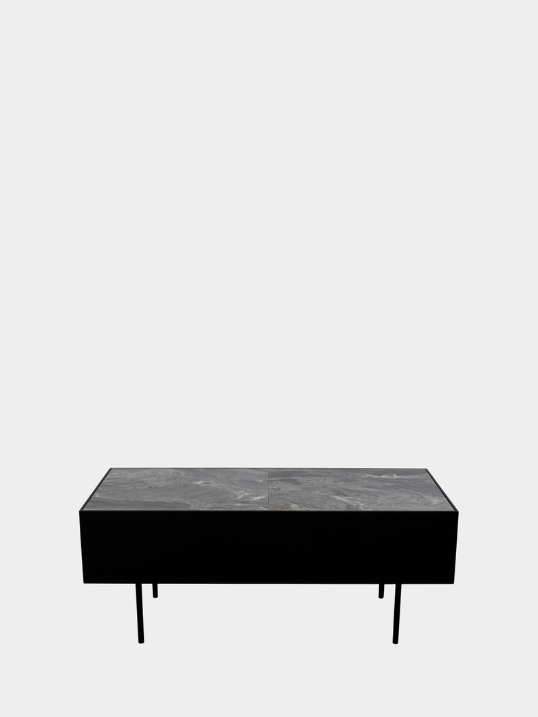 Accent Table - Grey Marble - Black Frame
