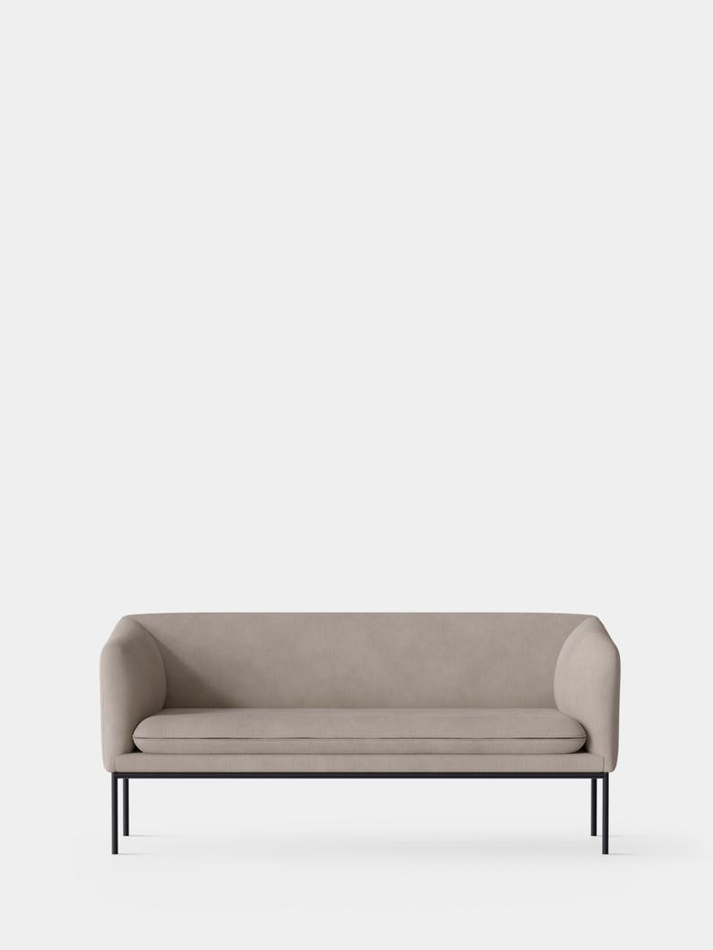 Turn Sofa 2-Seater - Cotton Linen Natural - Black Frame