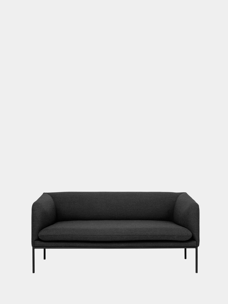 Turn Sofa 2-Seater - Fiord 171 Dark Grey - Black Frame