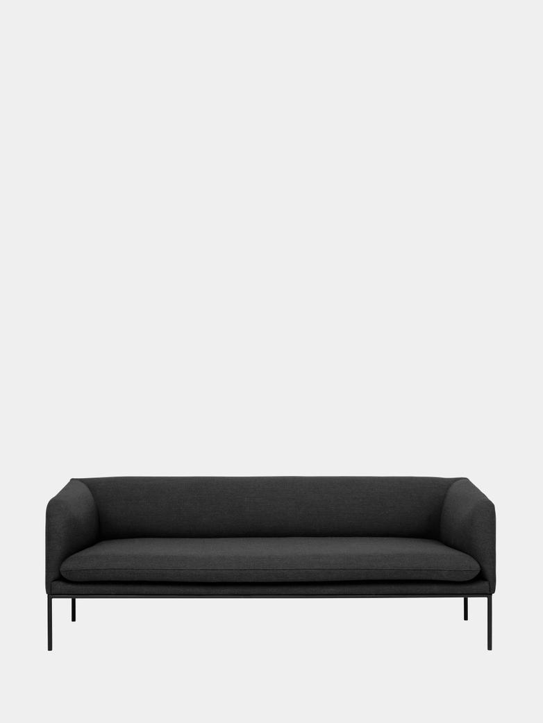 Turn Sofa 3-Seater -  Fiord 171 Dark Grey - Black Frame