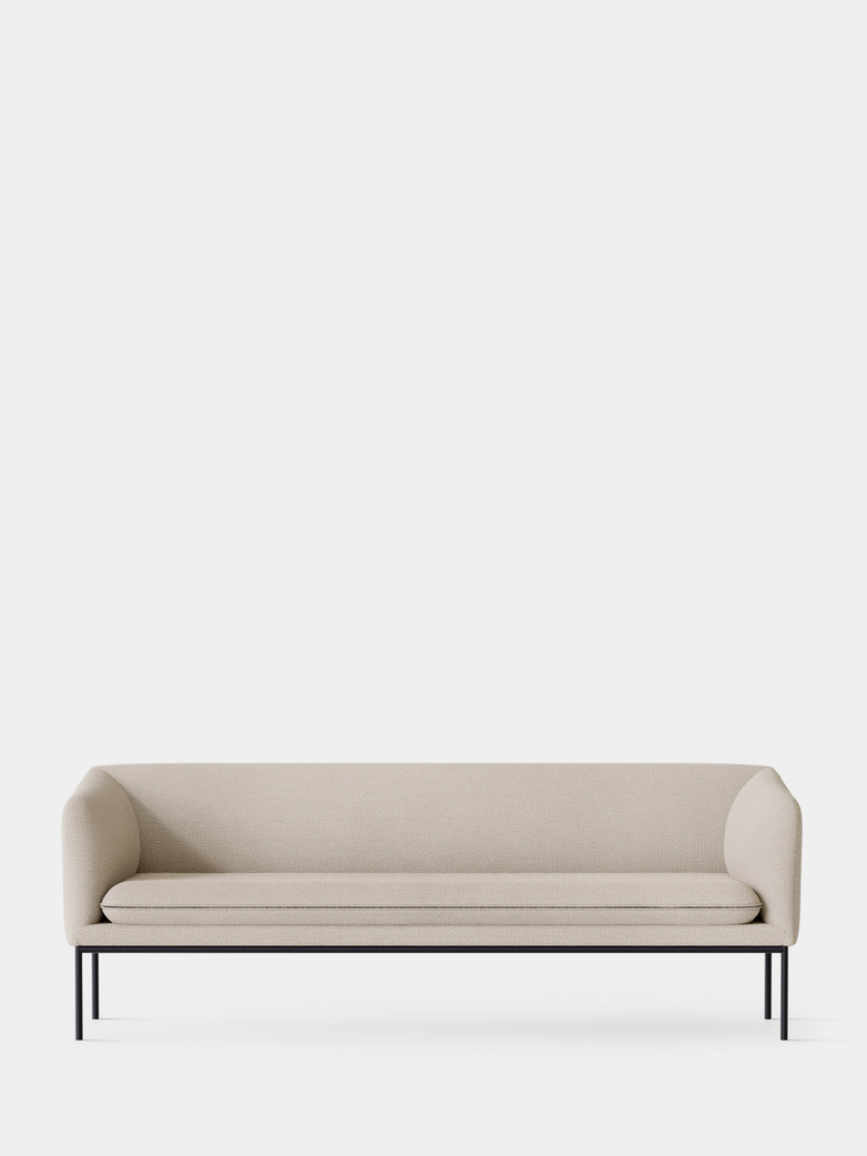 Turn Sofa 3-Seater -  Boucle Off White - Black Frame