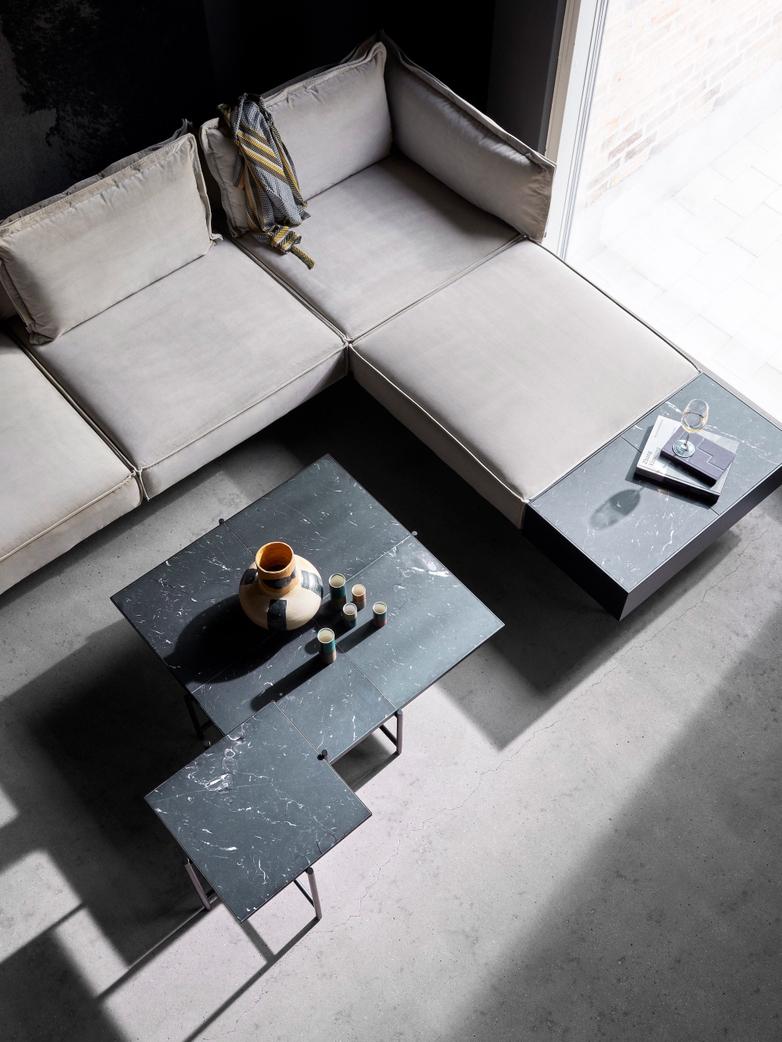 Coffee Table 90 - Black Marble - Black