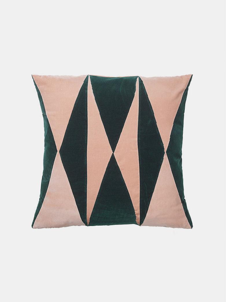 Anneli Cushion - Emerald/Pale Rose - 55 x 55