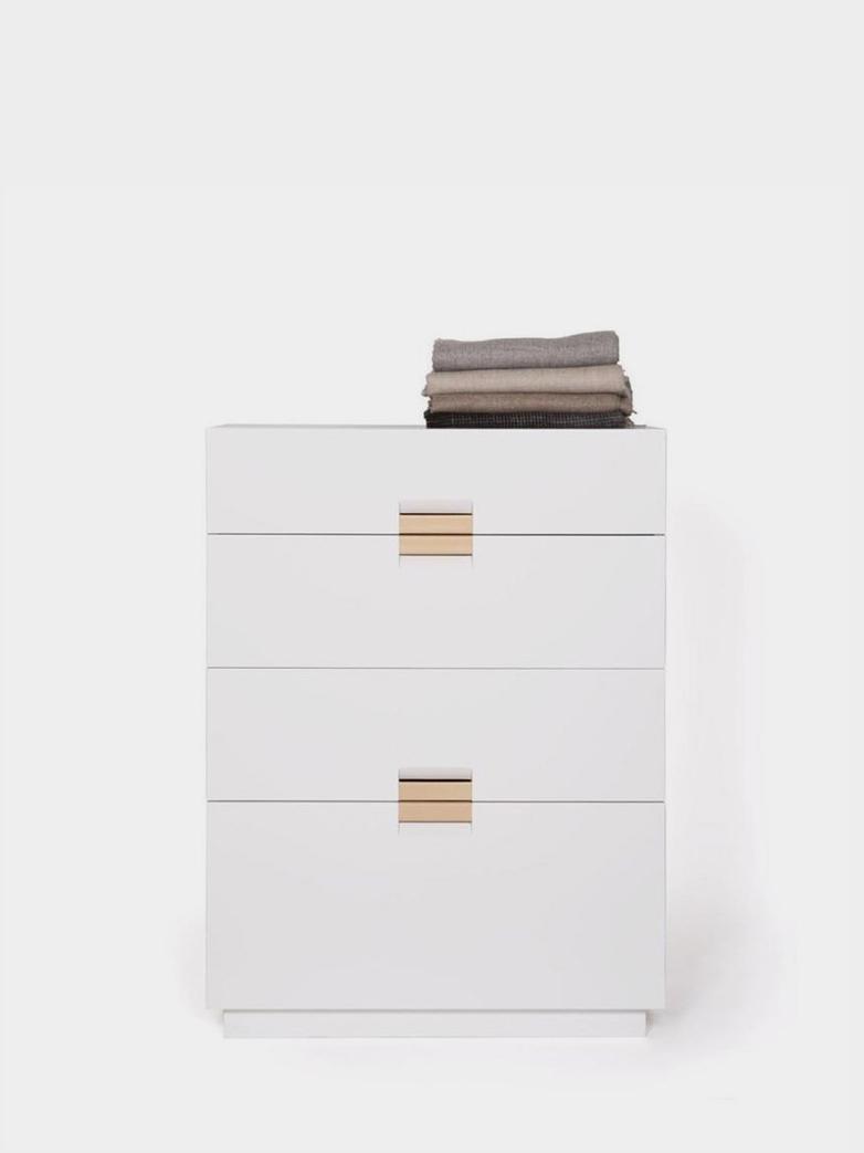Frame Drawer High - White - Natural Leather