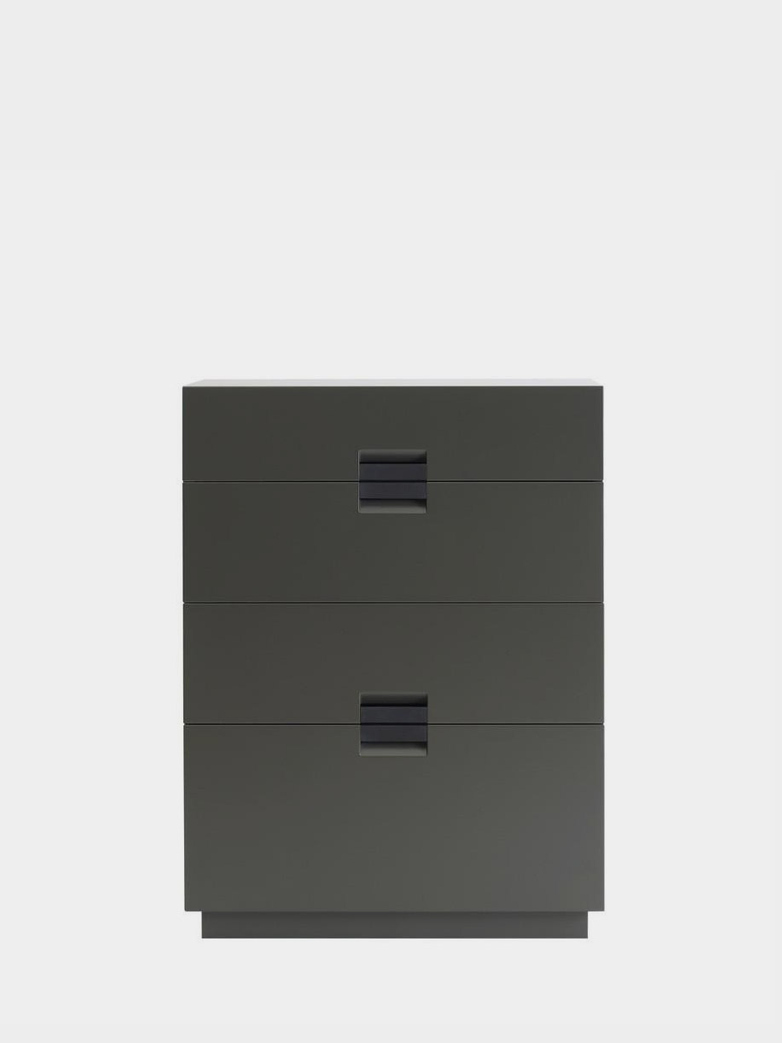 Frame Drawer High - Taupe - Black Leather