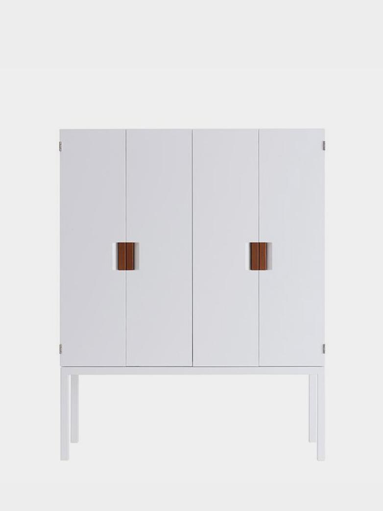 Frame TV/Media Cabinet - White - Cognac Leather