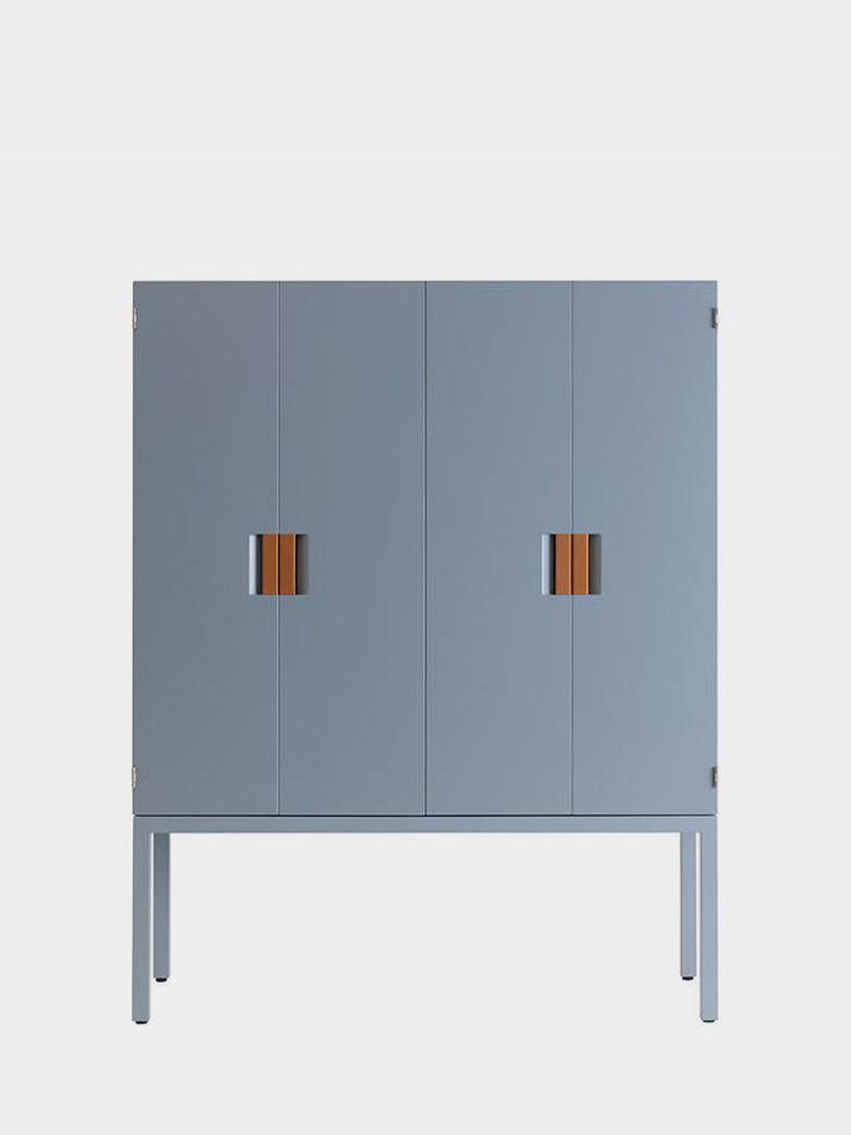 Frame TV/Media Cabinet - Nordic Blue - Cognac Leather