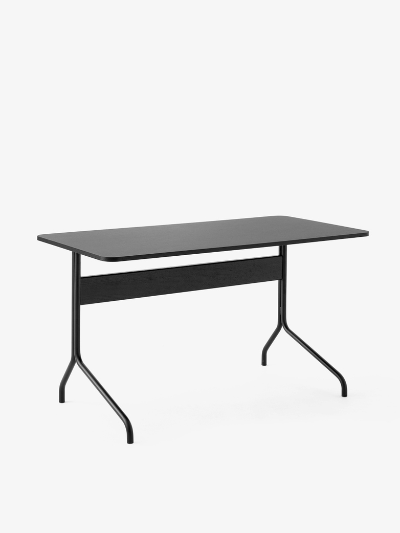 Pavilion Desk AV16 - Linoleum Black - Black Oak - Black Legs