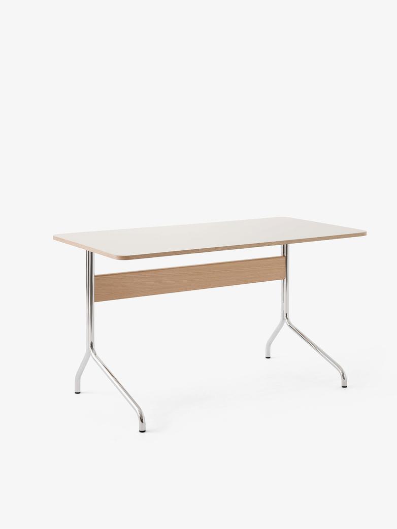 Pavilion Desk AV16 - Linoleum Mushroom - Oak - Chrome Legs