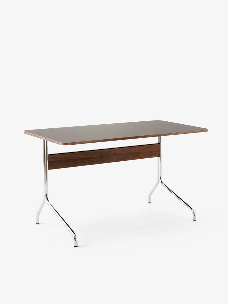 Pavilion Desk AV16 - Linoleum Iron - Walnut - Chrome Legs