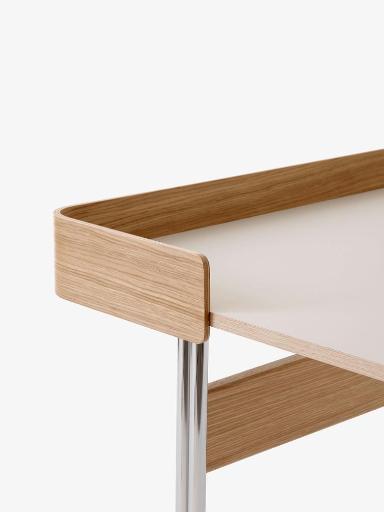 Pavilion Desk AV17 - Linoleum Mushroom - Oak - Chrome Legs