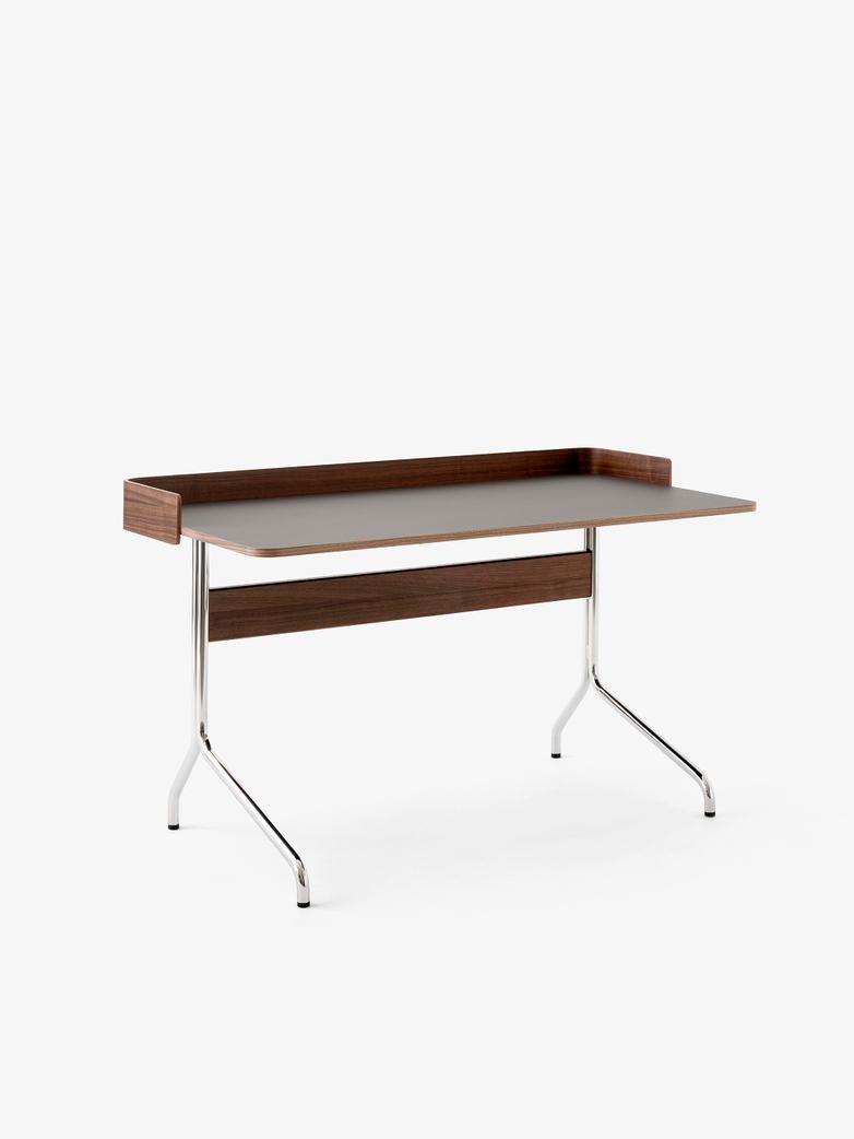 Pavilion Desk AV17 - Linoleum Iron - Walnut - Chrome Legs