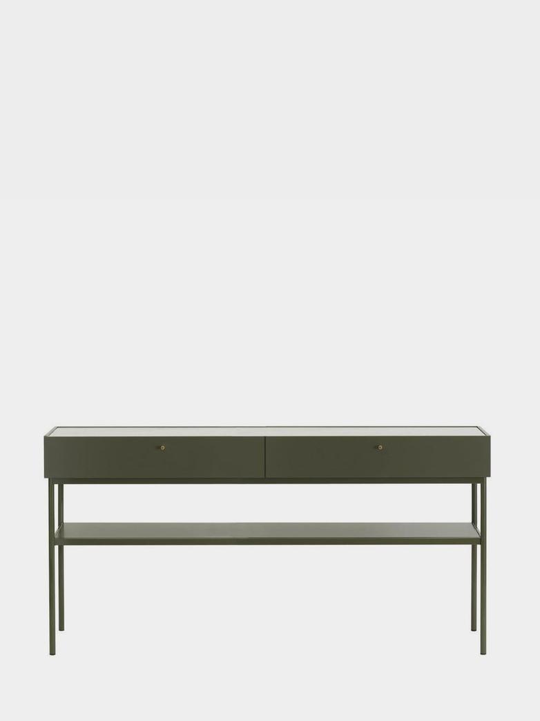 LUC Console 160 - Green Khaki - Carrara Marble